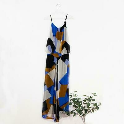 ABSTRACT GEOMETRIC DIGITAL PRINT STRAPPY JUMPSUIT