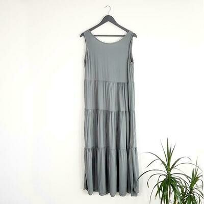 LONG PANEL DRESS WITH CHIFFON TIE BACK DETAIL