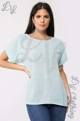 Ladies Plain Short Sleeved Top Mint