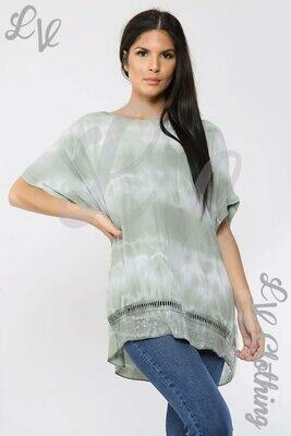 Ladies Tie Dye Print Top Khaki