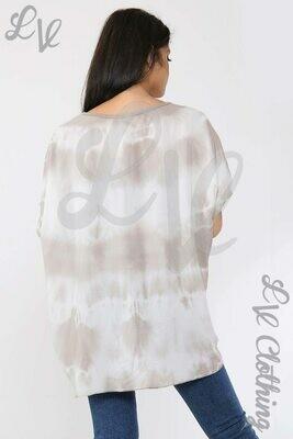 Ladies Tie Dye Print Top Stone
