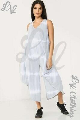 Ladies Tie Dye Print Wide Leg Jumpsuit Silver