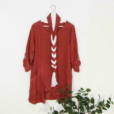 LINEN DRESS WITH ONE OVERSIZED POCKET WITH DUAL SCARF COMBO