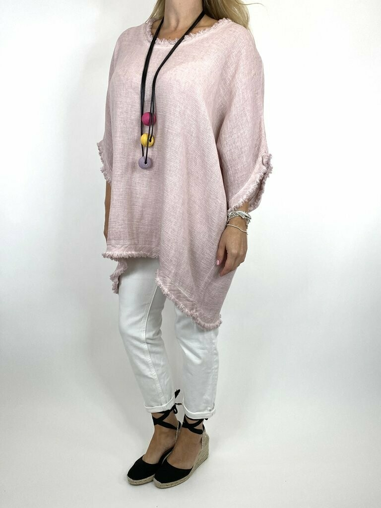LAGENLOOK MARIE WASHED FRAY HEM TOP IN PINK