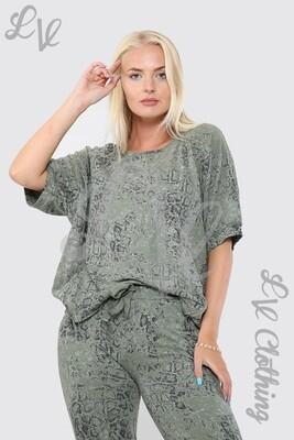 Ladies Snake Print Lounge Sweatshirt Khaki