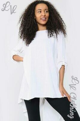 Ladies Plain Button Back Tunic Top White