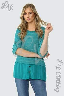 Ladies Lurex Stripe Top With Button Detail Teal