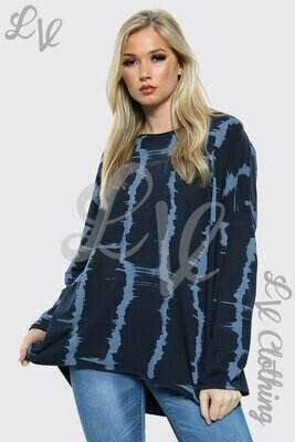 Ladies Tie Dye Print HI LO Oversize Top Navy