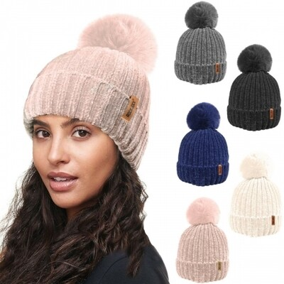 Ladies Ultra Soft Chenille Knitted Ski Hat with Large Detachable Faux Fur PomPom by RockJock