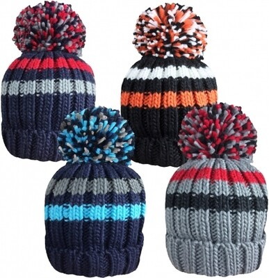 Boys Striped Chunky Knitted Ski Hat with Large Bobble by Rockjock