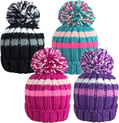 Girls Striped Chunky Knitted Ski Hat with Large Bobble by Rockjock