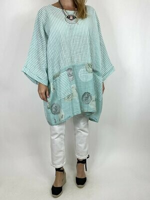 LAGENLOOK MIMI STRIPE AND DOT COTTON TOP IN MINT