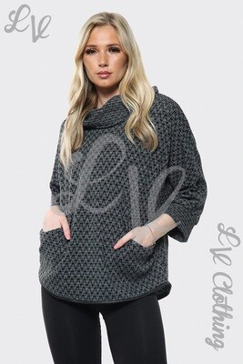 Ladies Cowl Neck Dogtooth Print Jumper Charcoal