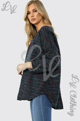 Ladies Multicoloured Pocket Front Knitted Jumper Navy