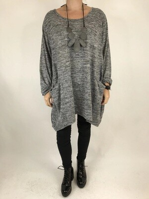 LAGENLOOK MADE IN ITALY ALPS TOP IN Pale Grey