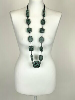 LAGENLOOK ANIMAL PRINT TURQUOISE LONG NECKLACE
