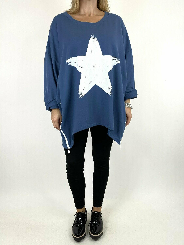 LAGENLOOK STAR ZIP SWEATSHIRT IN DENIM