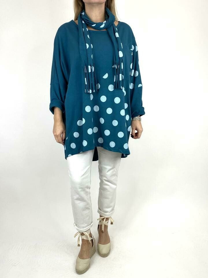 LAGENLOOK MOLLY DOT PRINT SCARF TOP IN IN TEAL