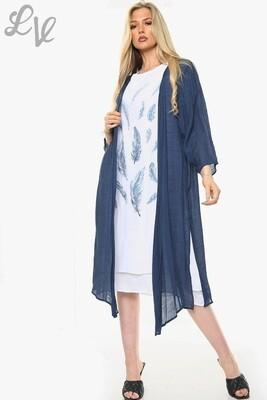 Ladies Dandelion Outline Print Sleeveless Dress With Cardigan Navy