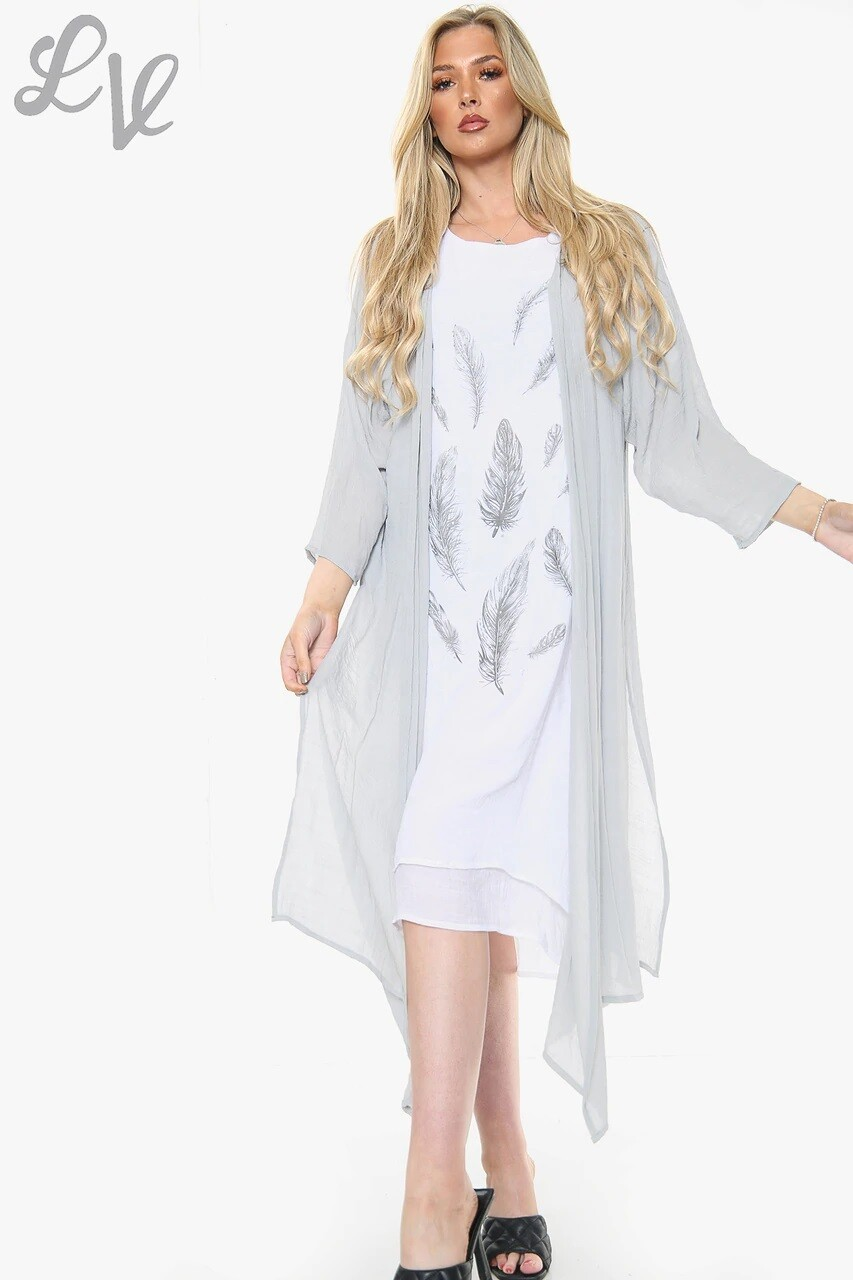 Ladies Feather Print Sleeveless Dress With Cardigan Grey