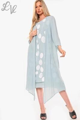 Ladies Dandelion Outline Print Sleeveless Dress With Cardigan Tiffany