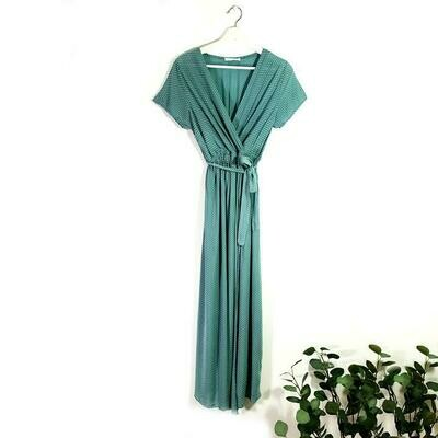 ELEGANT LONG VISCOSE SUMMER DRESS WITH SHORT SLEEVES AND ELASTICATED WITH BELT TEAL