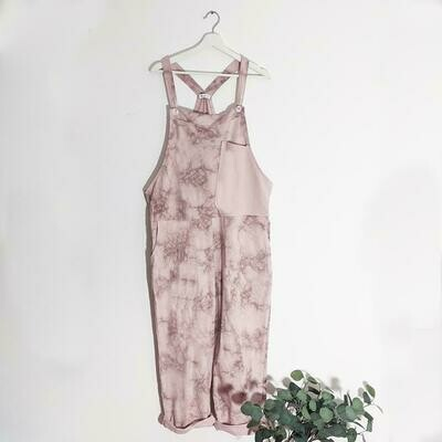 SHADED PRINT JERSEY DUNGAREES WITH A-SYMMETRIC PLAIN POCKET DETAIL PINK