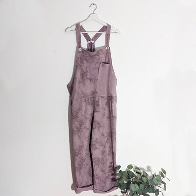 SHADED PRINT JERSEY DUNGAREES WITH A-SYMMETRIC PLAIN POCKET DETAIL MAUVE