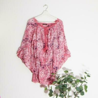 BOHO TOP WITH TASSEL TIES AND CROCHET NECK DETAIL
