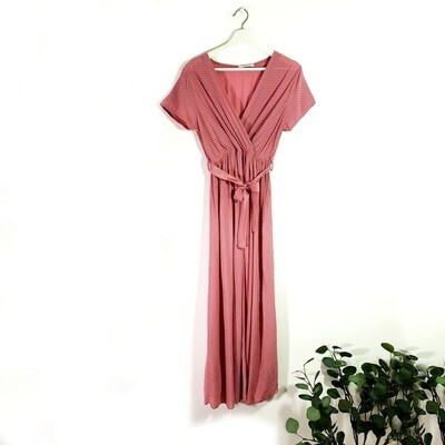 ELEGANT LONG VISCOSE SUMMER DRESS WITH SHORT SLEEVES AND ELASTICATED WITH BELT PINK