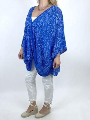 LAGENLOOK ERMA COTTON WRAP TOP IN ROYAL BLUE