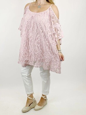LAGENLOOK AMALFI LACE SHOULDER-LESS TOP IN PALE PINK
