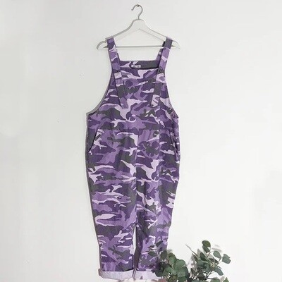 STRETCHY CAMOUFLAGE DUNGAREES PURPLE