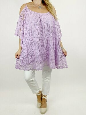 LAGENLOOK AMALFI LACE SHOULDER-LESS TOP IN LILAC.