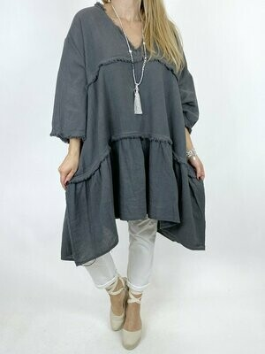 LAGENLOOK LAWRENCE V NECK COTTON TOP IN CHARCOAL