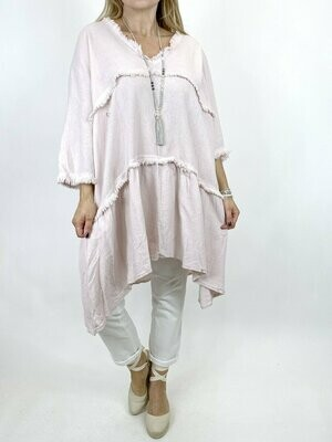 LAGENLOOK LAWRENCE V NECK COTTON TOP IN PINK