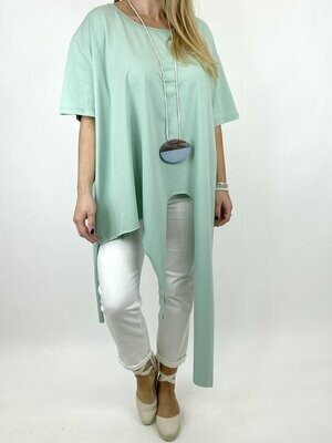LAGENLOOK MALMO QUIRKY POINT HEM TEE SHIRT IN MINT.