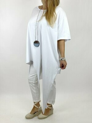 LAGENLOOK MALMO QUIRKY POINT HEM TEE SHIRT IN WHITE