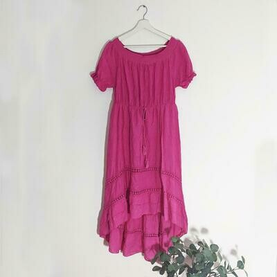 HIGH LOW EMBROIDERY ANGLAISE DRESS WITH TASSEL TIE WAIST AND OFF THE SHOULDER NECKLINE