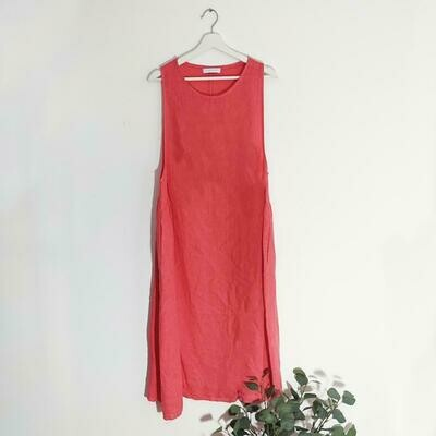 LINEN COVER UP DRESS WITH SLIGHT RUCHED SIDES AND POCKETS