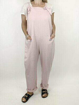 LAGENLOOK HARMONY PLAIN MADE IN ITALY DUNGAREES IN PALE PINK