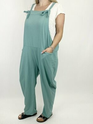 LAGENLOOK HARMONY PLAIN MADE IN ITALY DUNGAREES IN SEA MIST