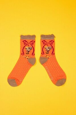 A-Z Ankle Socks - F