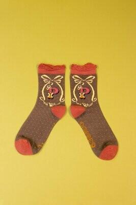 A-Z Ankle Socks - P