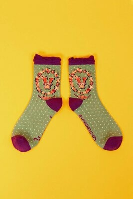 A-Z Ankle Socks - V