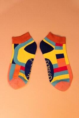 Ladies Trainer Socks Curved Stripes