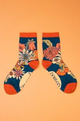 Ladies Ankle Socks Retro Meadow - Teal