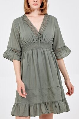 Embroidered Frill Sleeve & Hem Dress