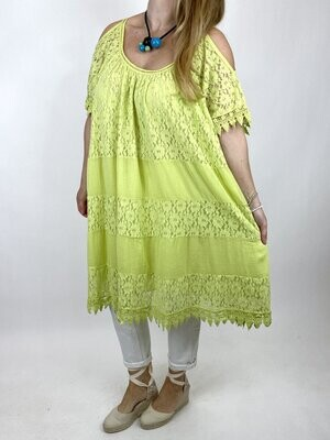 LAGENLOOK SOFIA LACE COLD SHOULDER TOP IN LIME