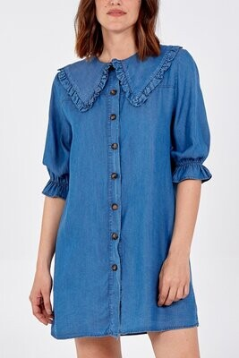 Denim Collar Detail Buttoned Dress One/Size
